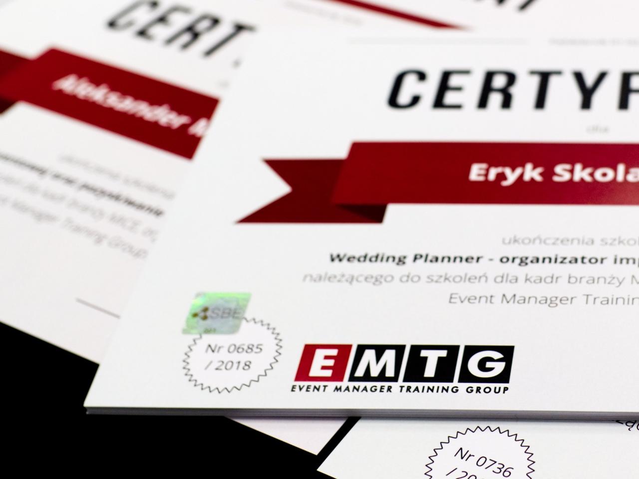 Certyfikat szkolenia Event Manager Training Group