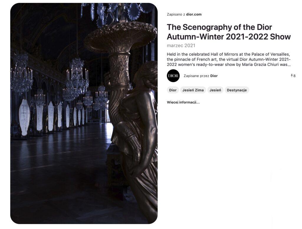Scenografia cyfrowy pokaz mody Versace kolekcja jesień-zima 2021