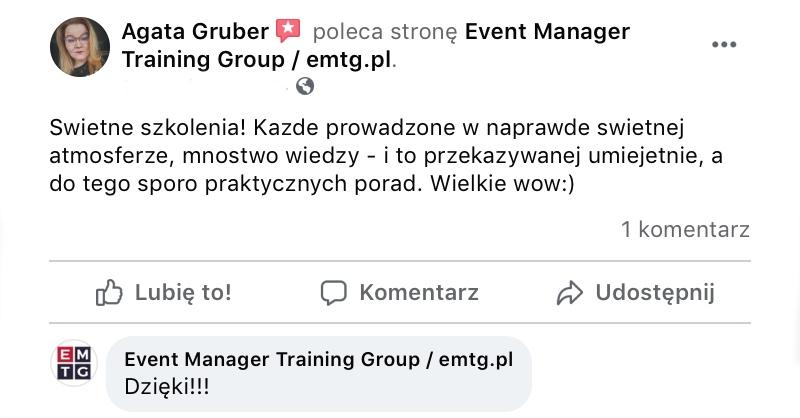 Event Manager PRO opinie o szkoleniu EMTG